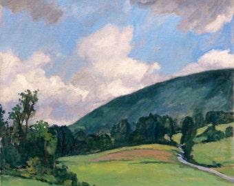 Afternoon Sky, Northern Berkshires. Oil Painting Realist Landscape on Canvas, 20x20 Plein Air Impressionism, Signed Original Fine Art