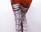 SECONDS Sale - Bionic Leggings - OLD Size XS Siren Red - Printed Robot Tights - fl614