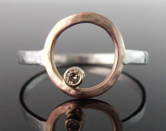 Chocolate Brown Diamond, 14k Rose Gold and Sterling Silver Halo Ring, Gold Circle Ring, Mixed Metal Ring, Promise Ring