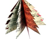 Paper Tree Ornament - Repurposed Vintage Sheet Music and Reclaimed File Folders - Choose Red or Green - Music Lover's Gift - Xmas Tree Decor