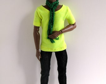 OOAK Neon yellow t-shirt, black jeans and emerald green scarf for Fashion Royalty Homme dolls
