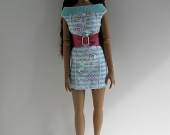 OOAK Mint green and white striped knit dress with sequin detail and pink belt for 16 inch fashion dolls
