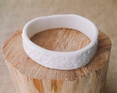Ceramic Lace Bangle, Porcelain Bohemian Jewelry by Mrs Peterson Pottery