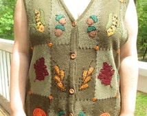 fall sweater, fall vest, harvest sweater, harvest vest, winter sweater, winter vest, tacky sweater, tacky vest, fall leaves, fall, green