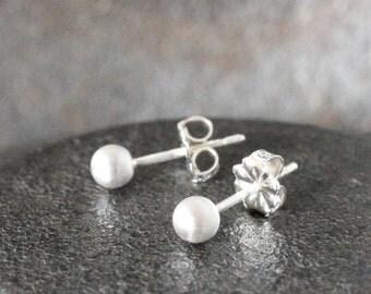 Silver Stud Earrings, matte silver stud earrings  ( tiny 4mm )  small stud earrings, sterling silver studs