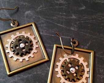 Gears in a Square Steampunk Earrings