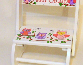 Personalized Child's Stool Owls in Pinks and Purples