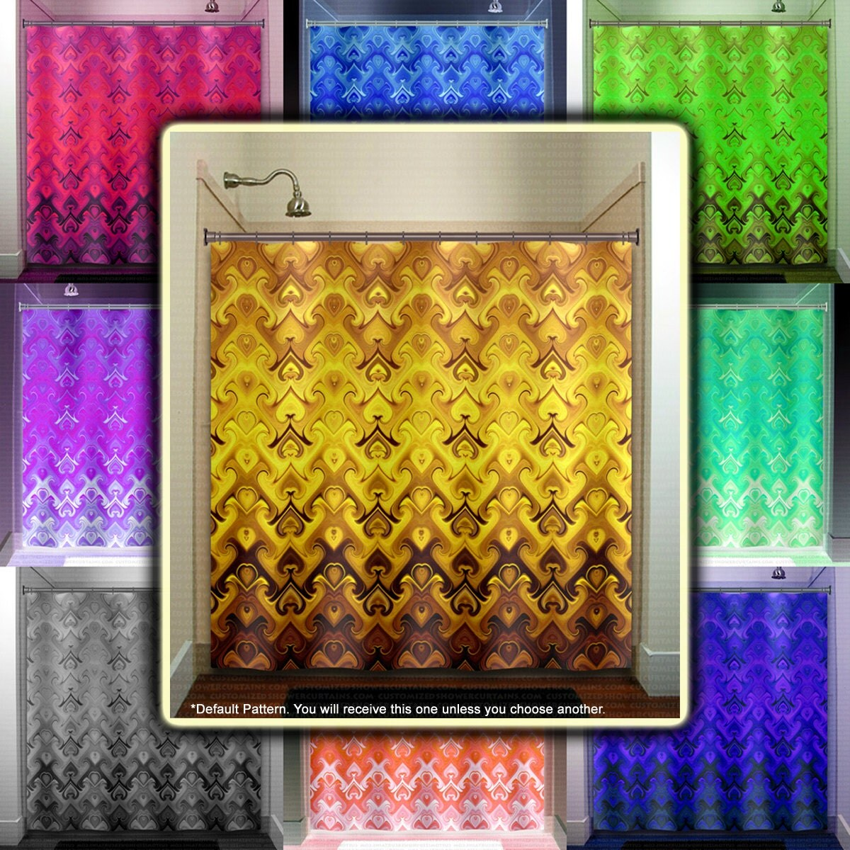 Golden Tapestry Damask Brown Yellow Gold Shower Curtain