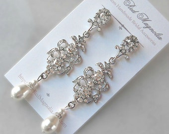 Swarovski Pearl & Crystal Earrings, Chandelier Earrings, White, Ivory, Cream, Champagne, Vintage Style Rhinestone Earrings - CONSTANTINA