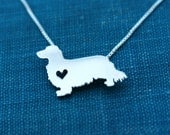Dachshund necklace Long haired, sterling silver hand cut pendant, with heart, tiny dog breed jewelry