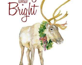 Reindeer Christmas Cards Set of 10 - Watercolor Christmas Card