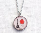 Le Ballon Rouge - Red Balloon in Paris Necklace - Hand Painted Pendant