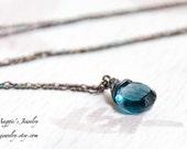 London Blue Topaz Necklace, Sterling Silver, Deep Ocean Blue, Antiqued, Oxidized, December Birthstone,Sea Nymph