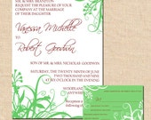 Wedding Invitation Suite (Modern Whimsy) -- Swirly foliage with a traditional touch -- Deposit to Get Started