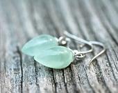 Pastel Green Earrings , Inverted Earrings , Tear Drop Earrings , Fine Jewelry , Minimalist Earrings , Amy FIne Design