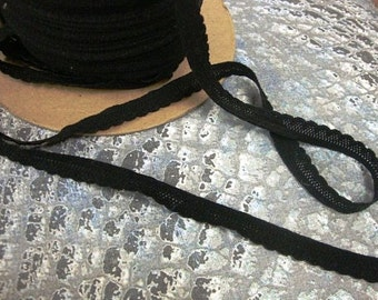 "5 yards of 3/8"" width ( 9.5mm)  scalloped edge black lingerie elastic"
