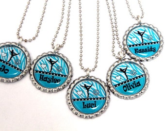 girls gymnastics party favors, gymnastics birthday party favor, blue zebra party favors,personalized bottle cap necklaces- custom color