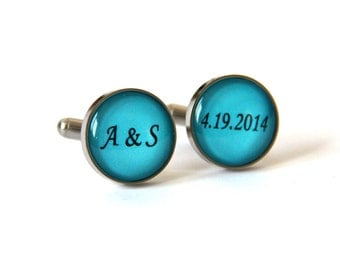 Teal Blue Wedding Gift for Groom Cufflinks, Unique Wedding gift for groom gift - Wedding Initials Cuff links custom color date