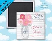 Mason Jar Wedding Favor Magnets - Rustic Wedding - 2 Inch Squares - Set of 10 Magnets