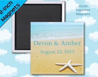 Beach Wedding Favor Magnets - 2 Inch Squares - Set of 10 Magnets