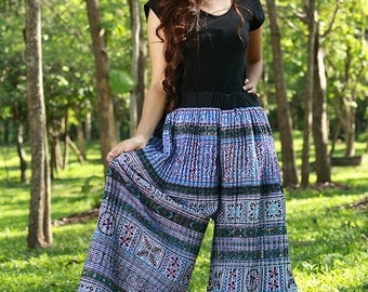100 percent hemp wide leg pants with pleated batik/embroidery for Women Blue White