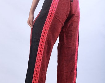 100 percent hand woven Natural hemp pants Red Black Blue NEW rare find