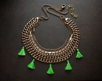 Vintage Gold Multi Strand Assemblage Statement Necklace with Rhinestone Chain and Neon Green Tassels