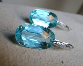 Luxury Sea Blue Topaz Pave Sterling Silver Earrings. December Birthstone