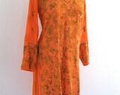 Juicy Mandarin Orange Embroidered Beaded Indian Blouse Dress Tunic Boho Hippie Medium-Large
