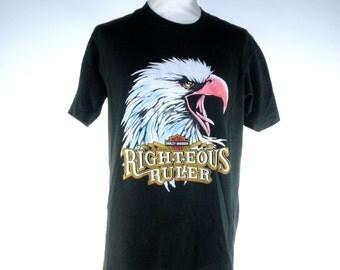 Harley Davidson T-shirt, Righteous Ruler, 50/50 Polyester/Cotton // Easy Rider Biker, Men's Large
