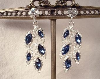 Art Deco Sapphire Earrings, Rhinestone Leaf Navy Blue Bridal Dangle Earrings Silver Drop Flapper Earrings 1920 Gatsby Wedding Vintage