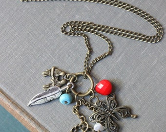Take Flight, Love Birds, Butterfly, Dragonfly, Feather, Fly, Sparrow, Bird, Nature Charm Necklace