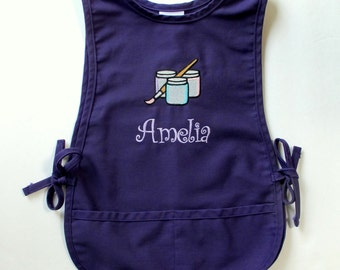 Personalized Kids Smock - Monogrammed Childs Art Apron - Set of Paints Design