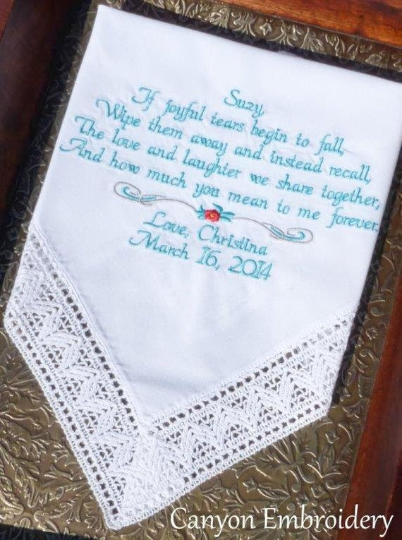 Mother of the Bride Stepmom Wedding Gift Embroidered Wedding ...