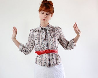 SALE - Vintage 1970s Folk Print Cream Red Blue Blouse