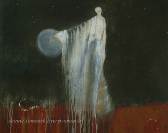 NIght Messenger, a GICLEE PRINT from an original oil painting,11x11 inches, woman, moon, rust, green