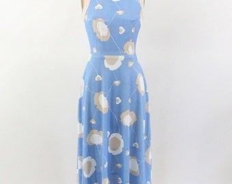 blue maxi dress - 70s floral print sleeveless maxi dress - bou medium