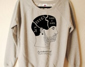 Mens Hand Printed alternative phrenology head sweater by Emilythepemily