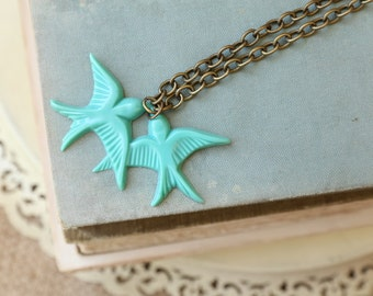 Love Birds Turquoise Necklace