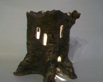 Tree Stump Fairy House -- For the Garden - also  a Night Light for Indoors, Handmade on the Potters Wheel - Larger Size