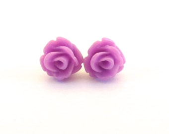 Tiny Orchid Rose Stud Earrings- Surgical Steel or Titanium Post Earrings- 7mmBlack Friday Sale 20% Off