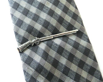 Shotgun Tie Bar- Shotgun Tie Clip- Sterling Silver Or Antiqued Brass Finish