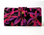 Wallet for woman - handmade clutch - Magical Flight dragonfly purple, pink, and black -  Custom order