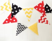 Banner, Bunting, Fabric Pennant Flags, Baby Shower, Birthday Party, Red, Yellow, Black, Chevron, Argyle, Birthday Party, Boy Room Decor