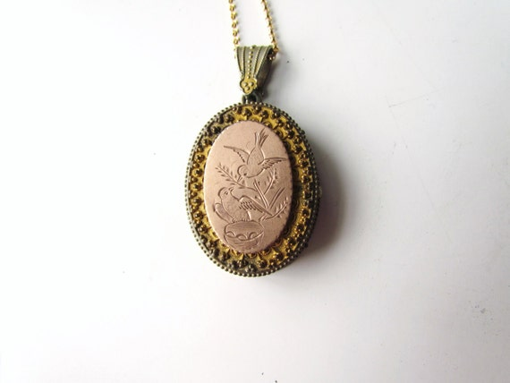 Antique Victorian Locket / Etruscan Style with Etched Birds and Original Tin Type Inside c.1860s
