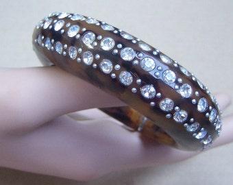 Vintage bangle clamper bracelet carved resin rhinestone bangle (6)