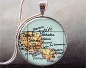 Tahiti map pendant, Tahiti map jewelry, Tahiti map jewellery, map necklace charm, island