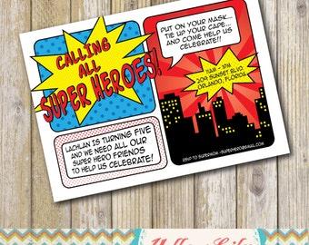 Super Hero Birthday Party Invitation- birthday, super hero, comic strip