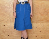 Reserved For Judy Vintage 70's Royal Blue Wrap Skirt One Size