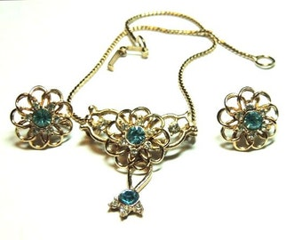 Blue Rhinestone Bib Necklace Brooch Earrings Vintage Jewelry Set